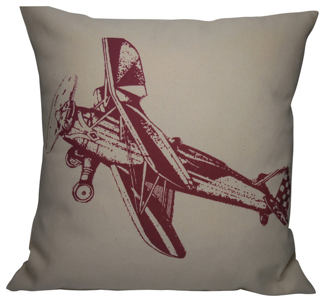 Decorative Airplane Pillow : Vintage Burgundy Airplane Pillow, 16