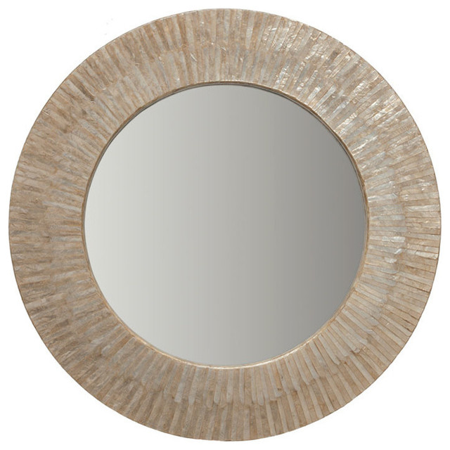 Round Capiz Seashell Sunray Wall Mirror by KOUBOO