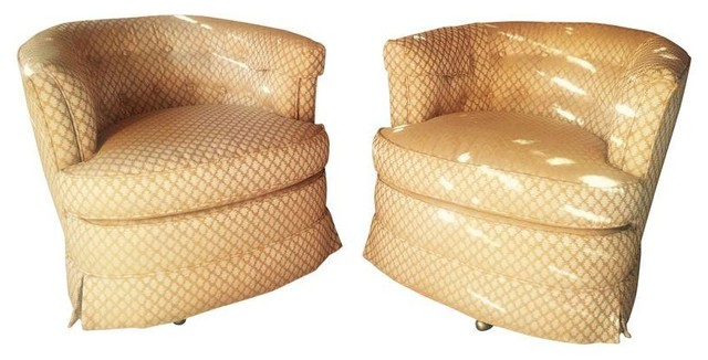 Drexel Vintage Button Tufted Swivel Chairs A Pair