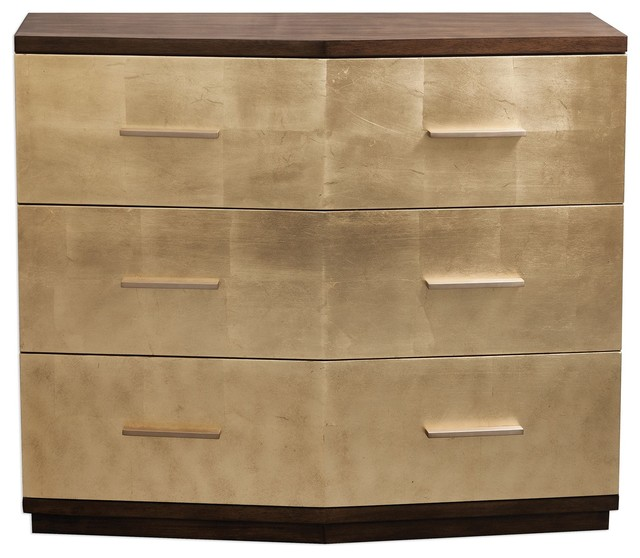 Stunning Brushed Gold Leaf Accent Chest, Metallic Midcentury Modern Glam.