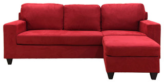 Vogue Reversible Chaise Sectional, Red