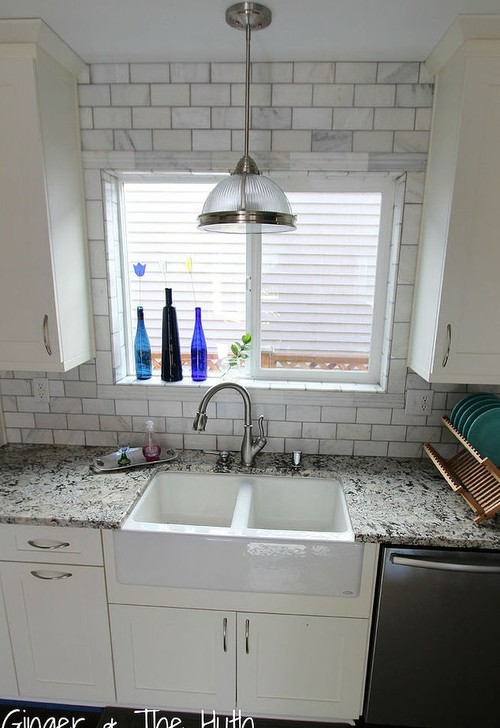 White Tile Around Kitchen Window