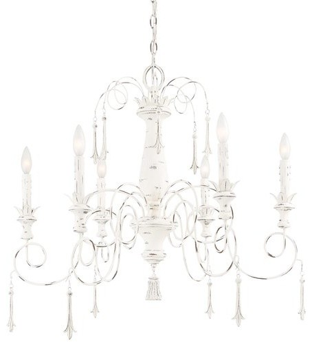 Minka Lavery 1236-648 6 Light 1 Tier Candle Style Crystal Chandelier