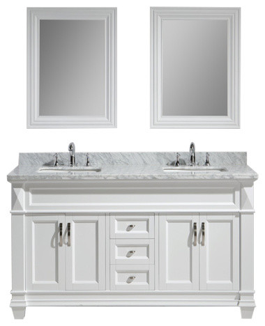 sink and vanity set. Hudson 61  Double Sink Vanity Set White With Carrara Marble Countertop traditional