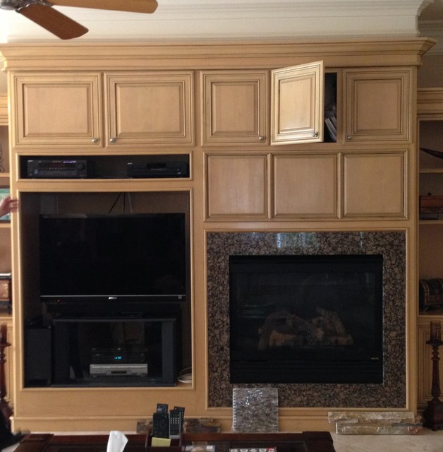 Custom Cabinet modification and Travertine Fireplace in Austin Tx - Contemporary - Living Room ...