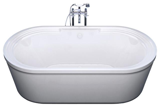 "Venzi Padre 34""x67"" Oval Freestanding Soaker Bathtub, Center Drain Placement."