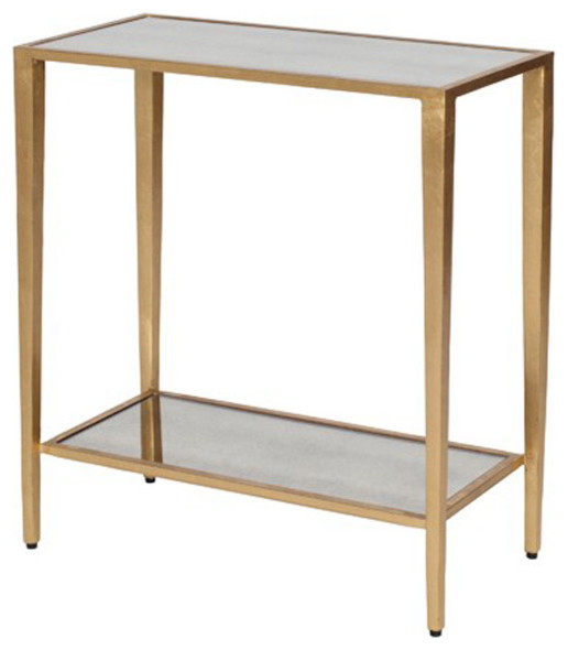 Madox Modern Classic Antique Gold Leaf Glass Coffee Table: Worlds Away 2-Tier Rectangular Table With Antique Mirror