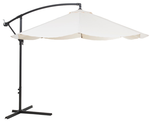 Pure Garden Offset 10&x27; Aluminum Hanging Patio Umbrella, Tan.