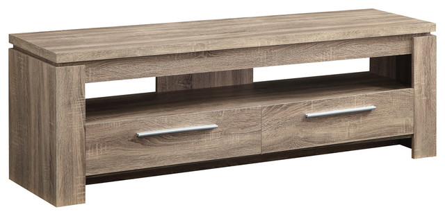 Weathered Finish TV Stand Wood Console Table 2 Drawers, Distressed Brown  Entertainment Centers