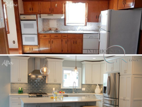 Open concept before and after kitchen for Concept homes llc