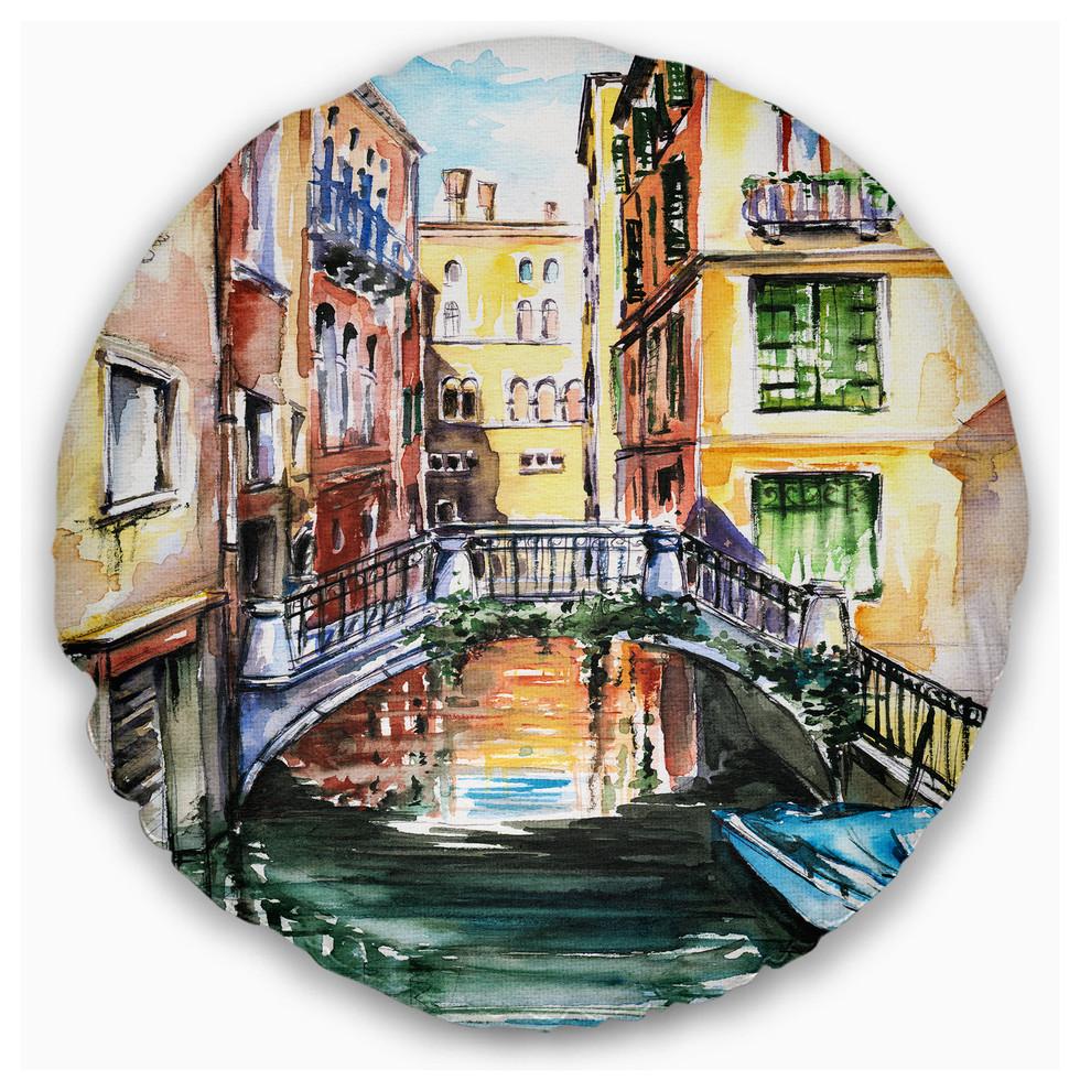 Venice Canal Meeting Bridge Cityscape Throw Pillow Contemporary Decorative Pillows By Design Art Usa