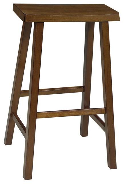 Wooden Bar Stool W Saddle Seat In Oak