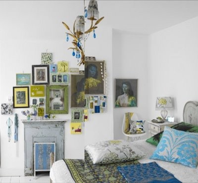 Interesting Wall design eclectic bedroom