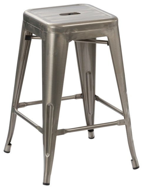 "24"" Vintage-Style Antique-Style Distressed Metal Brush Bar Stools, Set of 4"