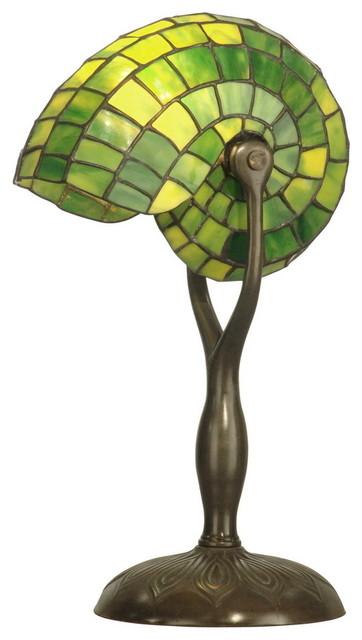 Dale Tiffany Tt10345 Green Nautilus Table Lamp Small