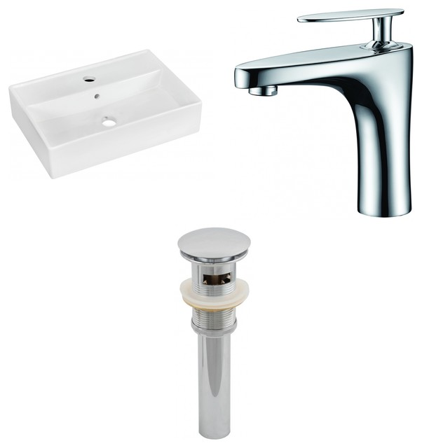 "Wall Mount Vessel Set For 1-Hole Center Faucet, White, 19.75""."
