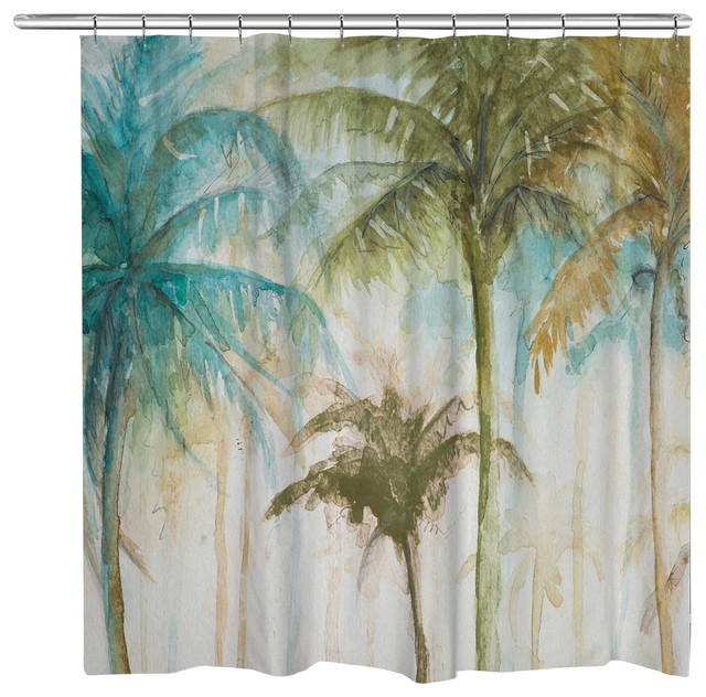 Laural Home Watercolor Palms Shower Curtain Tropical Shower Curtains  Tropical Shower Curtain