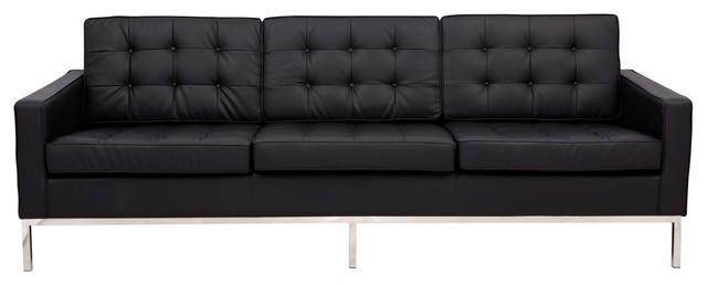 Leisuremod Lorane Mid-Century Tufted Buttoned Sofa, Black Leather.
