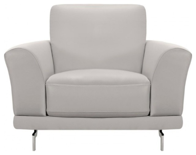 Amazing Armen Living Everly Leather Accent Chair In Dove Gray And Silver Machost Co Dining Chair Design Ideas Machostcouk