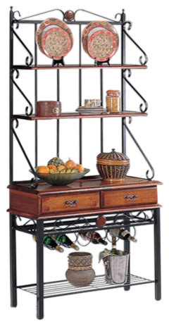 kitchen bakers rack with wine rack dirty oak