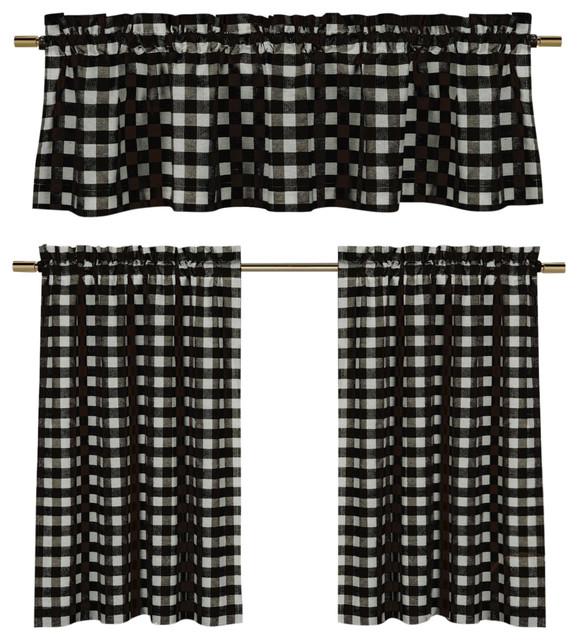 Black White Gingham Kitchen Curtain Set 3 Piece Farmhouse
