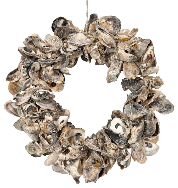 """Natural Oyster Shell Wreath - 10""""."""