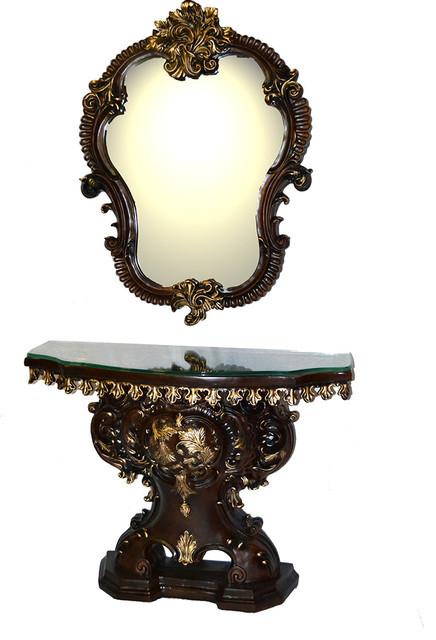 Decorative Bedroom Bathroom Polyresin Fancy Antique Vanity Table and Mirror  Set