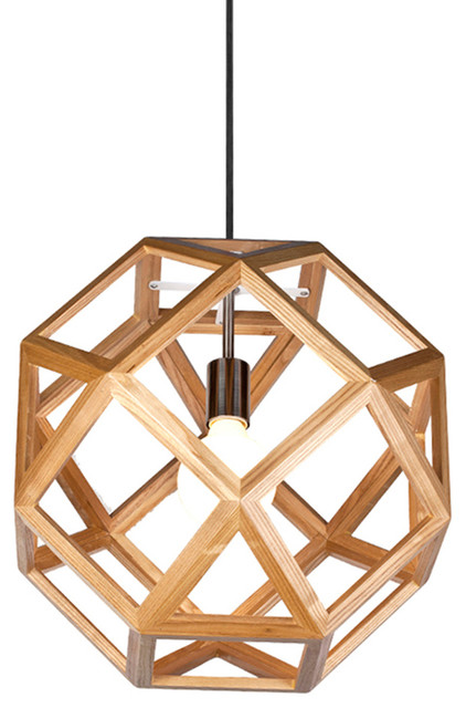 Geometry Wooden Shade Interior Pendant