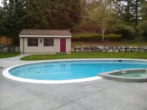 From storage garage to pool house for Garage pool house
