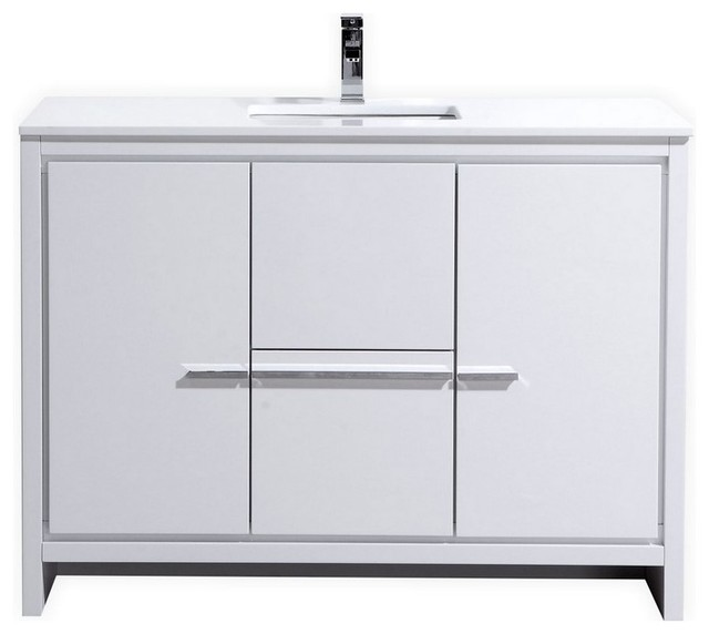 Dolce Vanity With White Quartz Countertop  High Gloss White  48   contemporary bathroom. Dolce Vanity With White Quartz Countertop  48    Contemporary