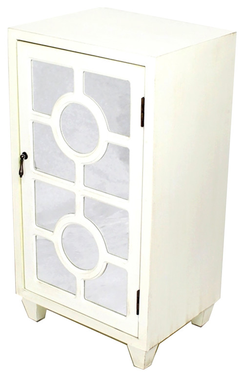 1-Door Accent Cabinet With Lattice Mirror Inserts, MDF, Wood Mirrored Glass