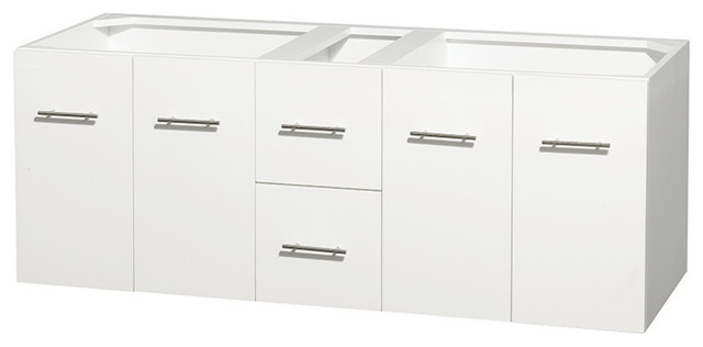 "60"" Double Bathroom Vanity In White, No Countertop, No Mirror."