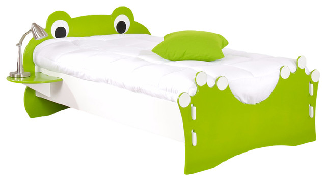 Frog Twin Bed, Lime Green And White.