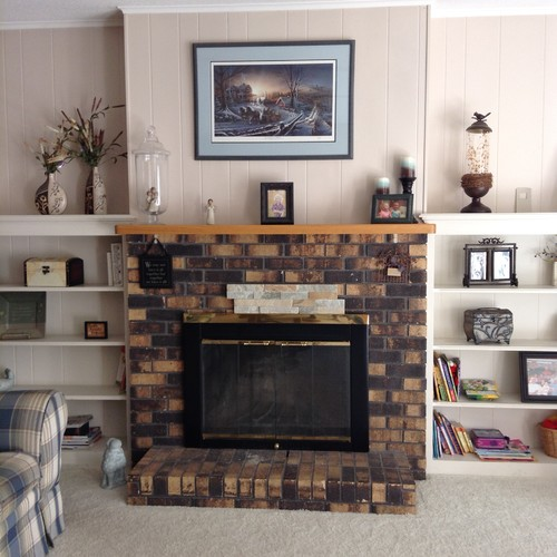 Covering brick fireplace need help with mantel - Covering brick fireplace with tile ...