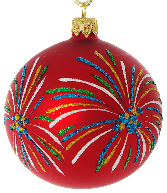- Fireworks Hand Painted Glass Christmas Ornament, Red ...