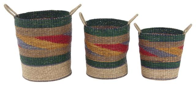Craftsman Round Seagrass Baskets, 3-Piece Set, Multicolor