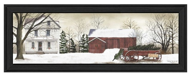 """christmas Trees For Sale"" By Billy Jacobs, Printed Wall Art, Black Frame."