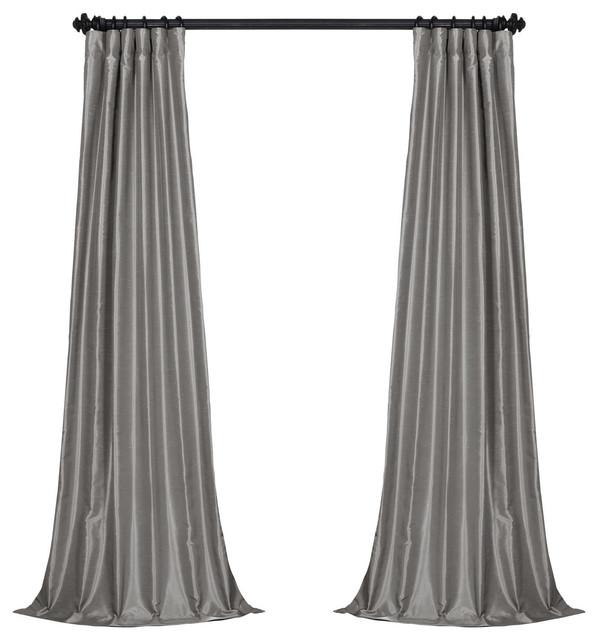 "Silver Vintage Textured Fauxdupioni Silk Curtain Single Panel, 50""x120""."