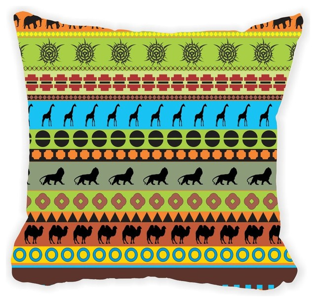 Southwestern Print Throw Pillows : Green Blue Brown African Tribal Print Microfiber Throw Pillow 16