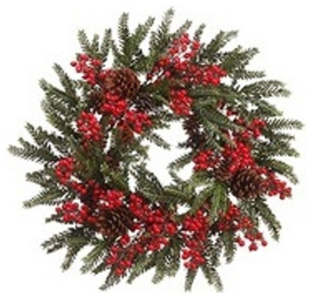"""22"""" Red Berry And Pine Cone Artificial Christmas Wreath, Unlit."""
