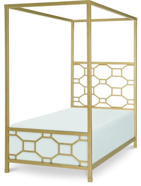 Rachael Ray Home Chelsea Metal Canopy Bed, Gold, Twin.