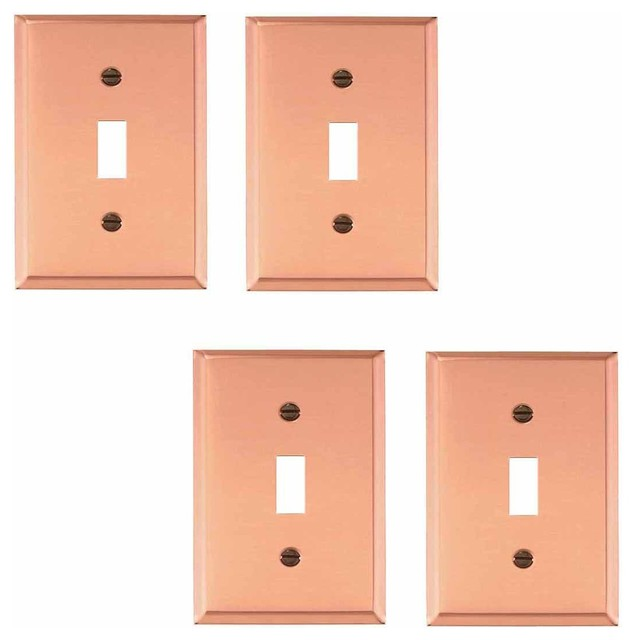 4 switch plate solid copper single toggle dimmer contemporary switch plat. Black Bedroom Furniture Sets. Home Design Ideas
