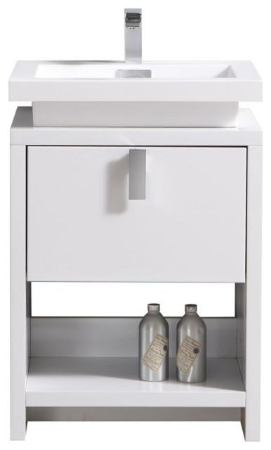Levi 24 Modern Bathroom Vanity W Cubby Hole Transitional Bathroom Vanities And Sink Consoles By Us Bathroom Store