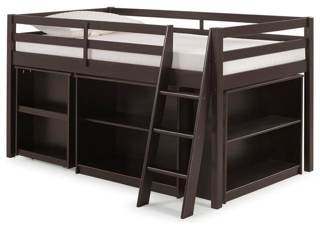 Roxy Junior Loft Bed With Storage Drawers, Bookshelf And Desk, Espresso.