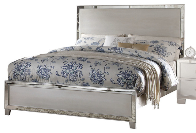 voeville ii mirrored bed platinum california king contemporary platform beds - Mirrored Bed Frame