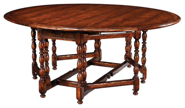 Country Farmhouse Oval Walnut Gateleg Table Traditional Dining Tables b