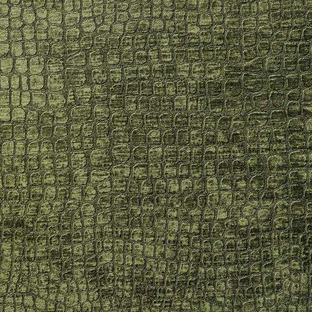 dark green alligator print shiny woven velvet upholstery fabric by the yard