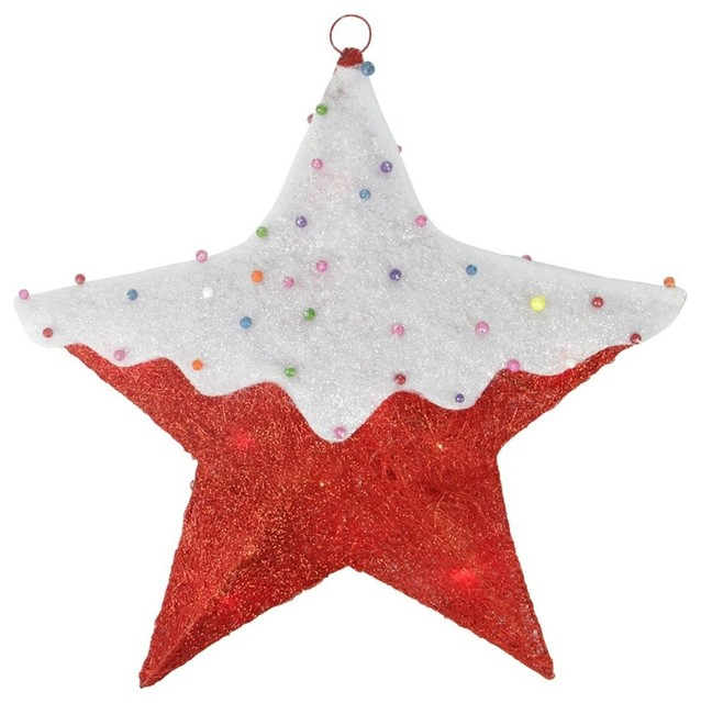 "18"" Lighted Snow Covered Candy Sisal Hanging Christmas Star Window Decoration - Contemporary - Outdoor Holiday Decorations - by Northlight Seasonal"