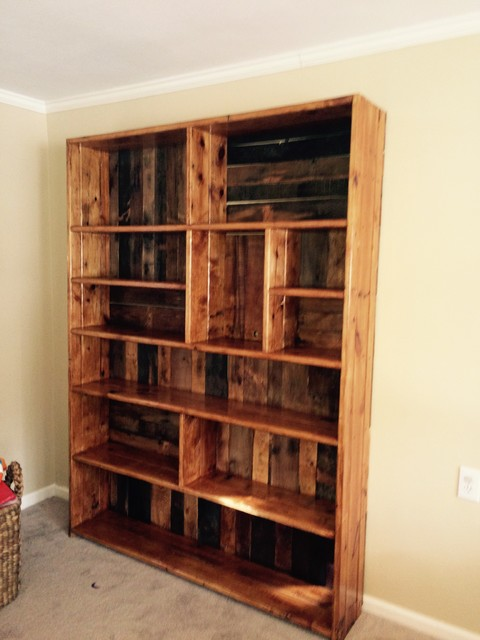 Built In Rustic Bookshelves