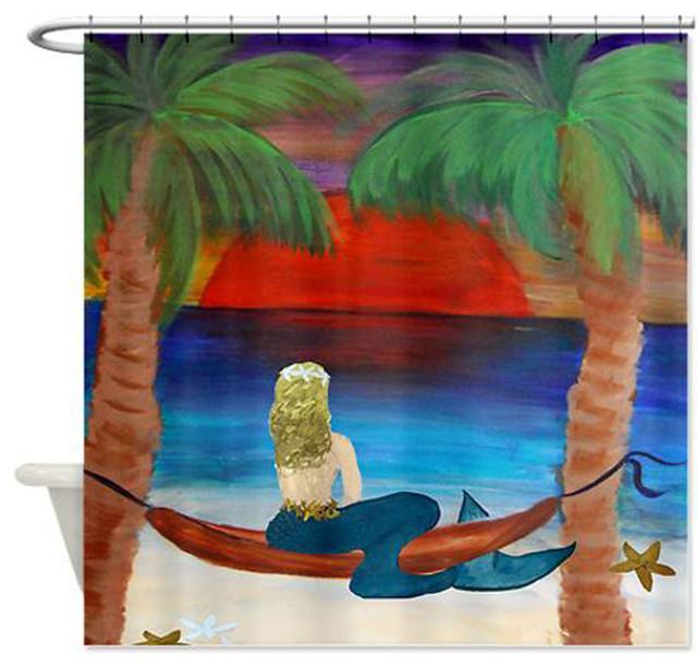 Hammock Mermaid Shower Curtain Tropical Shower Curtains